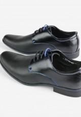 Półbuty czarne14 z niebieskim sznurkiem Patrice