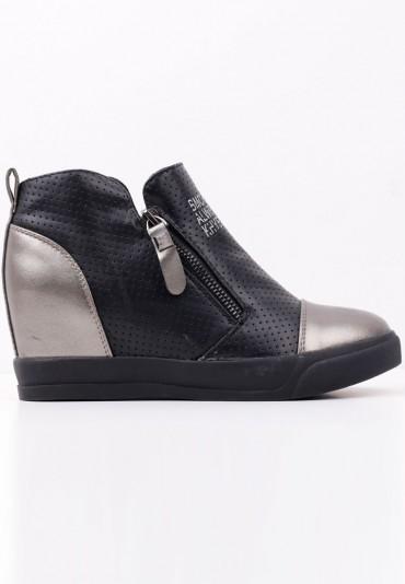 Sneakersy botki czarno srebrne 2 Théophile