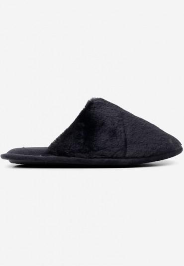 Kapcie z futerkiem czarne 4 Alac