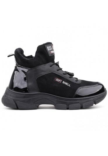Sneakersy botki czarne lakierowane 1Brisbois
