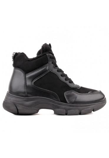Sneakersy botki czarne zamsz 1 Pierres