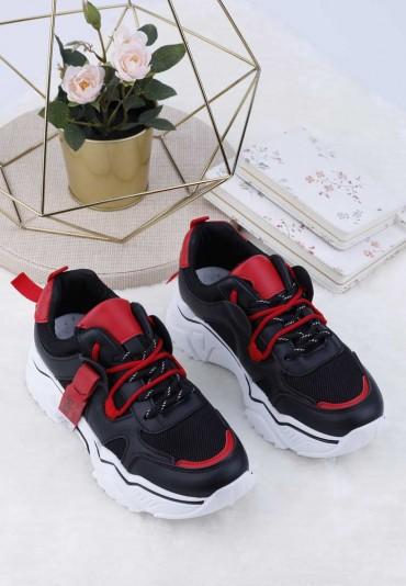 Sneakersy czarno czerwone Lydie
