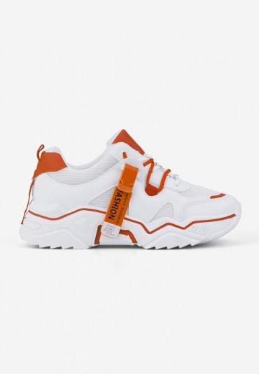 Sneakersy biało pomarańczowe Lydie