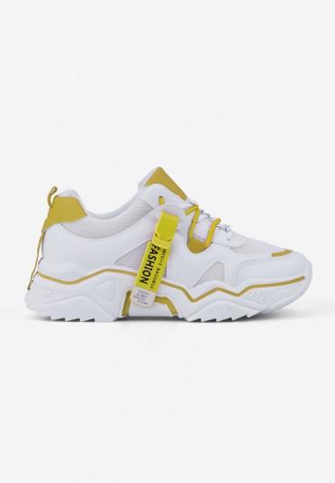 Sneakersy biało żółte Lydie