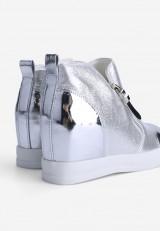 Sneakersy na koturnie srebrne 3 Pauline