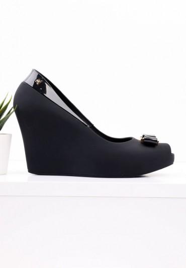 Sandały meliski czarne na koturnie 8 Camille