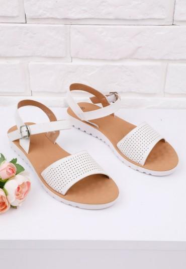 Sandały białe na płaskie 4 Sarratt